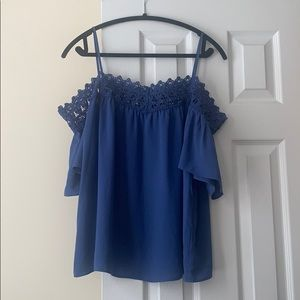 WHBM blue cold shoulder top, size L